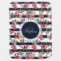 Girly vintage roses floral watercolour stripes receiving blanket
