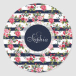 Girly vintage roses floral watercolour stripes classic round sticker