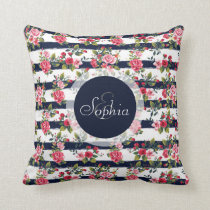 Girly vintage roses floral watercolour stripes throw pillow