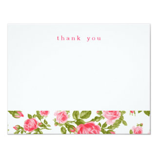 Girly Vintage Roses Simple Thank You Note Cards