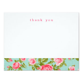 Girly Vintage Roses Simple Thank You Note Cards Custom Invitations