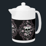 """Girly Vintage Skull Teapot<br><div class=""""desc"""">Vintage skull is so girly with plenty of pink flowers and ribbons.</div>"""
