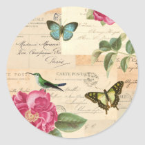 Girly vintage sticker with roses and butterflies