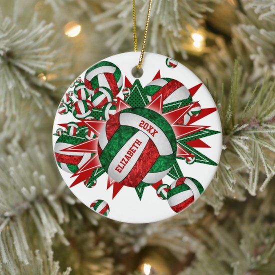Girly Volleyball Blowout Christmas sports Ceramic Ornament