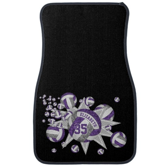 girly volleyball blowout purple gray sports decor car floor mat