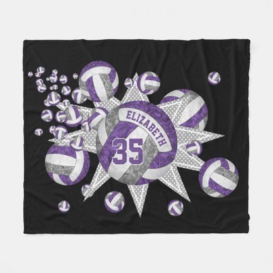 girly volleyball blowout purple gray sports decor fleece blanket