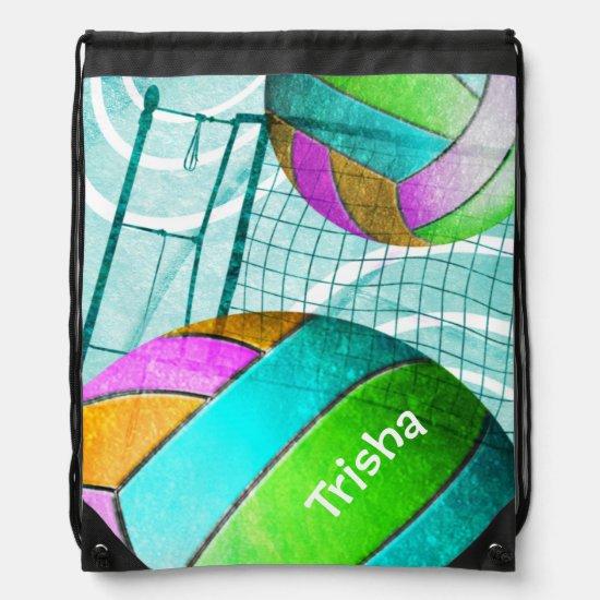 Girly Volleyball Drawstring Bag