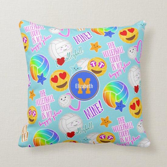 girly volleyball happy kawaii emoji stickers throw pillow