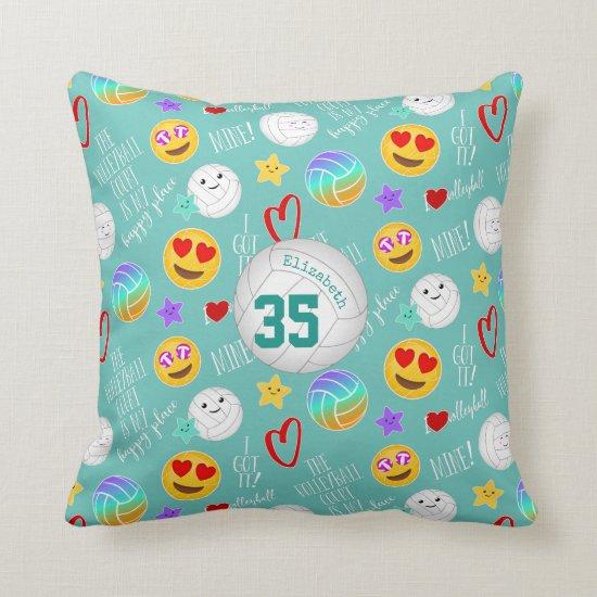 girly volleyball happy kawaii emoji teal throw pillow