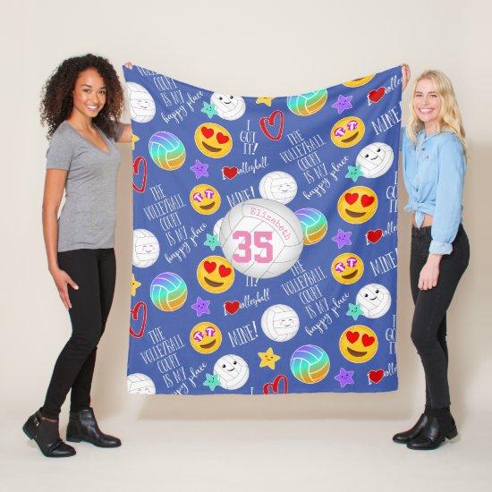 girly volleyball kawaii emoji and typography fleece blanket