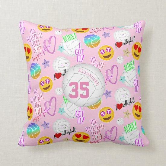 girly volleyball kawaii emoji stickered look throw pillow