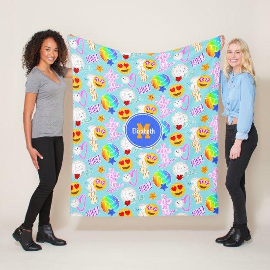 girly volleyball kawaii emoji stickers pattern fleece blanket
