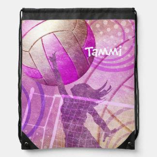 Girly Volleyball Drawstring Backpack