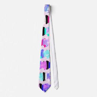 Girly Watercolor Brush Stroke Stripes Neck Tie