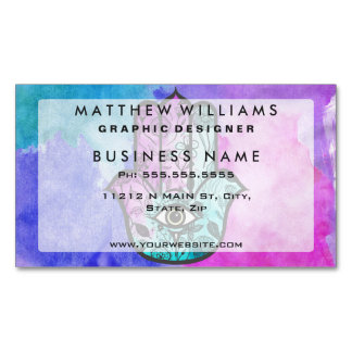Girly Watercolor Floral Print Hamsa Hand of Fatima Magnetic Business Cards (Pack Of 25)