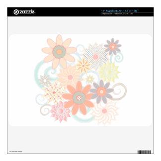 Girly Watercolor Pastel Floral Design MacBook Decals