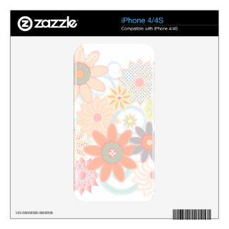 Girly Watercolor Pastel Floral Design Skins For iPhone 4