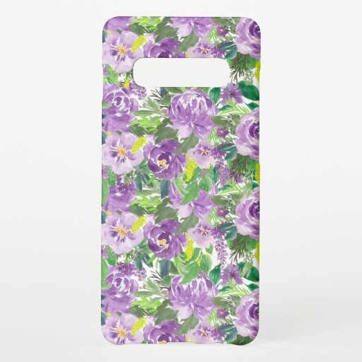 Girly Watercolor Purple Flowers Green Leaves Samsung Galaxy S10  Case