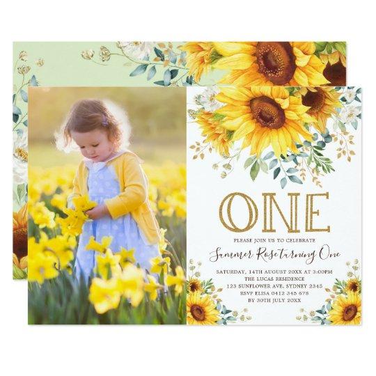 Girly Watercolor Sunflower 1st Birthday Photo Invitation ...