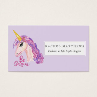 Girly Watercolor Unicorns Be Unique Typography Business Card