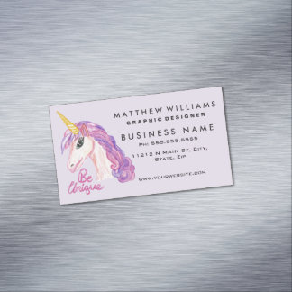 Girly Watercolor Unicorns Be Unique Typography Magnetic Business Card