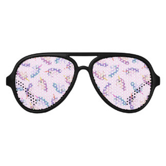 Girly Watercolor Unicorns Pattern in Pink Purple Aviator Sunglasses