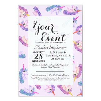 Girly Watercolor Unicorns Pattern in Pink Purple Card