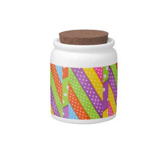 Girly Wedding Cute Rainbow Polka Dots Stripes Candy Dish