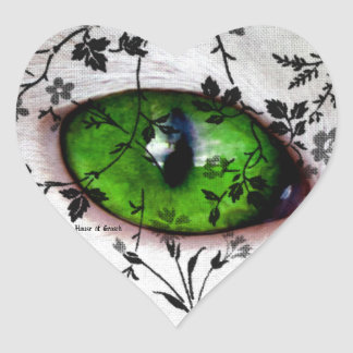 Girly Wedding Heart Vintage Floral Eye of Cat Heart Sticker