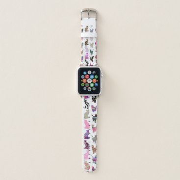 Aztec Themed Girly Whimsical Cats aztec floral stripes pattern Apple Watch Band