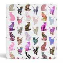 Girly Whimsical Cats aztec floral stripes pattern Binder