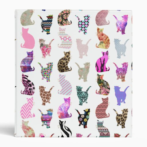 Girly Whimsical Cats aztec floral stripes pattern 3 Ring Binders