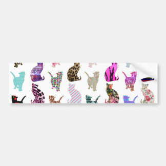 Girly Whimsical Cats aztec floral stripes pattern Bumper Sticker