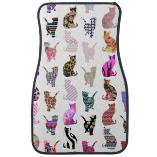 Girly Whimsical Cats aztec floral stripes pattern Car Floor Mat