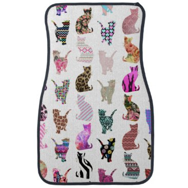 girly_trend Girly Whimsical Cats aztec floral stripes pattern Car Floor Mat