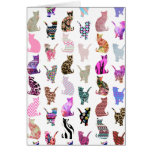 Girly Whimsical Cats aztec floral stripes pattern Cards