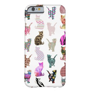 Girly Whimsical Cats aztec floral stripes pattern Barely There iPhone 6 Case at Zazzle