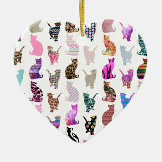 Girly Whimsical Cats aztec floral stripes pattern Ceramic Ornament