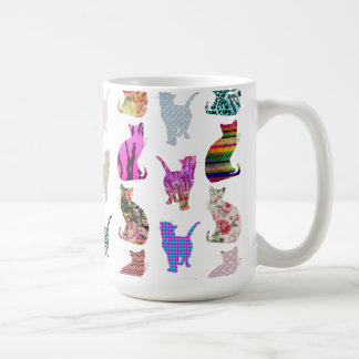 Girly Whimsical Cats aztec floral stripes pattern Classic White Coffee Mug