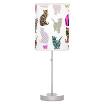 Girly Whimsical Cats aztec floral stripes pattern Desk Lamp