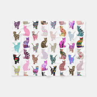 Girly Whimsical Cats aztec floral stripes pattern Fleece Blanket