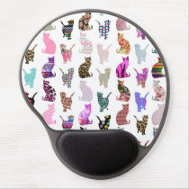 Girly Whimsical Cats aztec floral stripes pattern Gel Mouse Pad