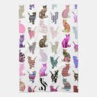 Girly Whimsical Cats aztec floral stripes pattern Hand Towel