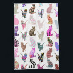 "Girly Whimsical Cats aztec floral stripes pattern Hand Towel<br><div class=""desc"">Girly Whimsical Cats aztec floral stripes pattern. A vintage and retro girly floral pattern design with whimsical and cute cats animals, with pink, blue, red, yellow, teal blue, black, purple, gray, white, turquoise blue, navy blue pastel colors, lots of different floral colorful retro design with roses, lilies, tulips, sunflowers, lotus...</div>"