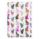 Girly Whimsical Cats aztec floral stripes pattern Cover For The iPad Mini