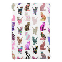 Girly Whimsical Cats aztec floral stripes pattern iPad Mini Covers