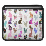 Girly Whimsical Cats aztec floral stripes pattern Sleeves For iPads