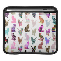 Girly Whimsical Cats aztec floral stripes pattern iPad Sleeve