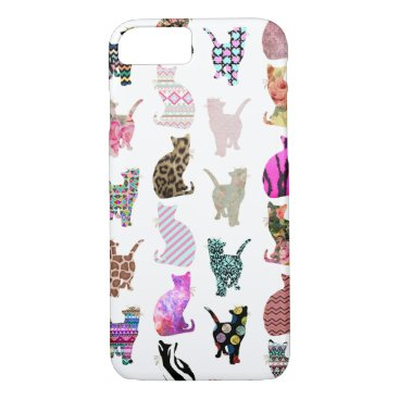 Aztec Themed Girly Whimsical Cats aztec floral stripes pattern iPhone 7 Case