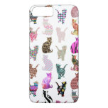 Girly Whimsical Cats aztec floral stripes pattern iPhone 7 Plus Case